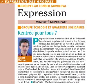 Tribune de Pascal Metton dans le mensuel municipal de Saint Martin d'Hères